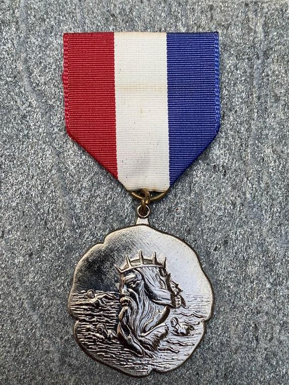 Vintage 1st place swim award ribbon pin posidon vintage award vintage ribbon medal swim trophy
