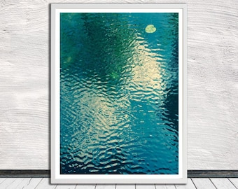Blue water landscape photography, Waterscape reflection print, water art, landscape art poster, printable art, Instant Digital Download