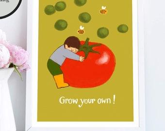 Grow your own! Printable garden poster design, garden lovers printable, school garden art, victory gardeners, Instant Download