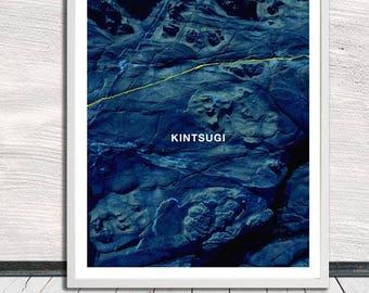 Kintsugi, Kintsukuroi, blue rock poster, Japanese aesthetics, Wall Art, Word Art, Printable Art, Instant Digital Download