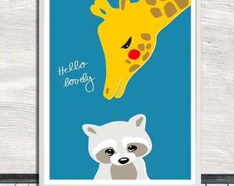 Cute animal print, hello lovely, racoon and giraffe print (blue), nursery art, Instant Digital Download (for self printing)