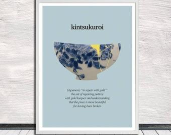 Kintsugi, Kintsukuroi, Kintsugi pottery poster, Illustration, Healing quotes, Wall Art, Word Art, Printable Art, Instant Digital Download