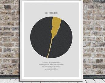 Kintsugi, Kintsukuroi, Minimalistic poster, Japanese aesthetics, Wall Art, Word Art, Printable Art, Instant Digital Download