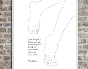 Nick Drake Lifting your feet, Inspirational Quote Wall Art, Black and White Art, Minimalist drawing, Quote art, Printable