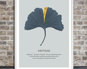 Kintsugi, Kintsukuroi on a Ginkgo Leaf, Japanese, Wall Art, Word Art, Printable Art, Instant Digital Download