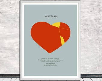 Kintsugi heart, Kintsukuroi, Japanese aesthetics, Broken Heart, Fixed Heart, Wall Art, Word Art, Printable Art, Instant Digital Download