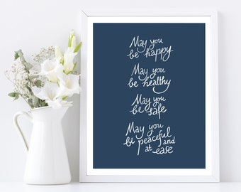 May you be happy, may you be healthy..., Metta meditation printable poster, Instant Digital Download