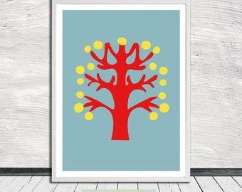 Scandinavian scissor cut tree print, nursery print, minimalistic tree poster, tree wall art, printable art, Instant Digital Download