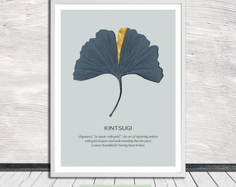 Gingko leaf Kintsugi poster, Kintsukuroi art, Minimalistic poster, Wall Art, Word Art, Printable Art, Instant Digital Download