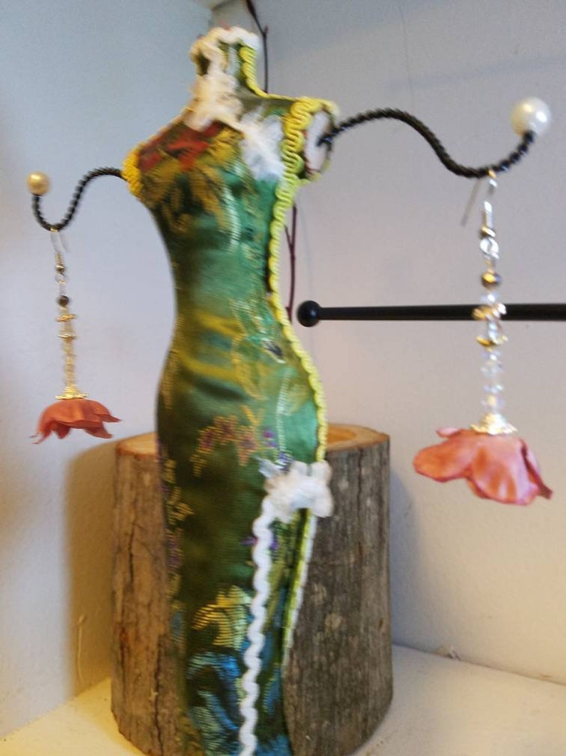 Classic Crystal and Rose flower earrings  Rosetta image 0