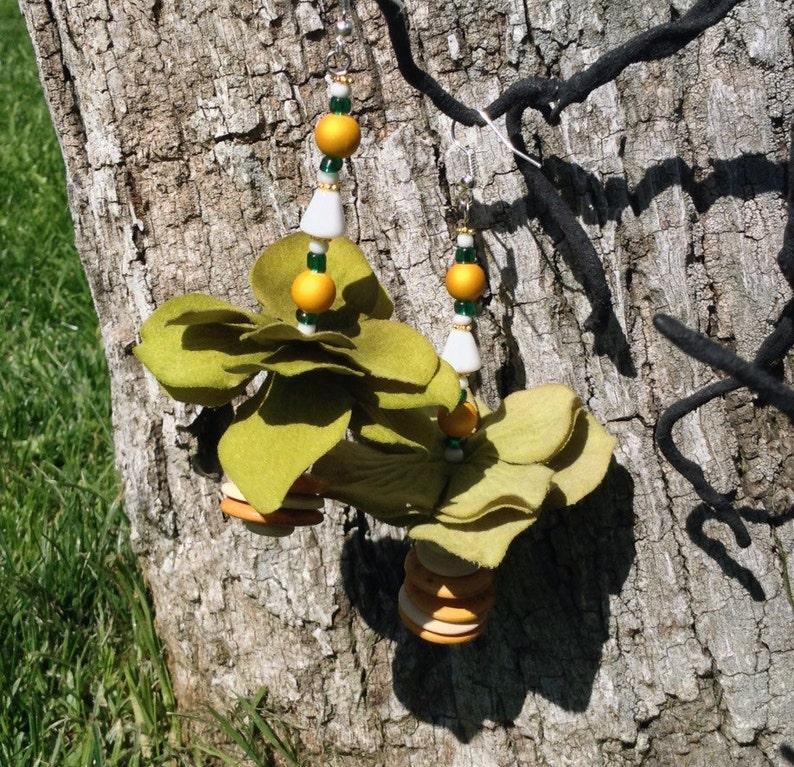 Olive tutu earrings image 0