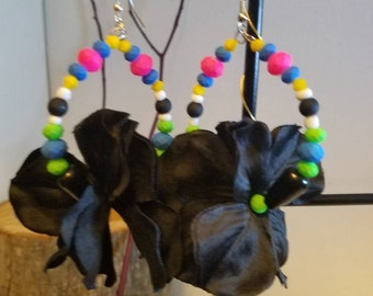 "Colorful Black flower small hoops ""Alexis"""