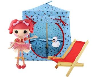 Toy Pop Up Tent, Sleeping Bags, light blue, heart print fabric