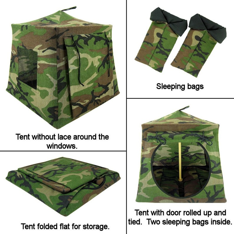 Toy Pop Up Tent green black brown camouflage print fabric for dolls Sleeping Bags action figures or stuffed animals