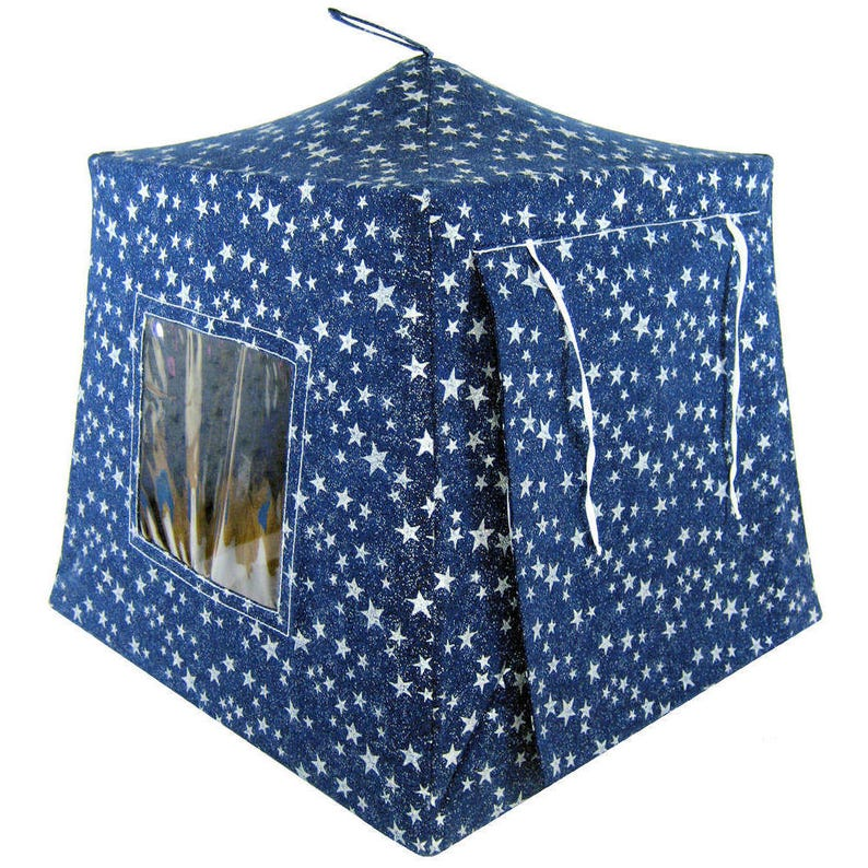 Toy Pop Up Tent navy blue silver sparkling star print fabric for action figures Sleeping Bags stuffed animals or dolls