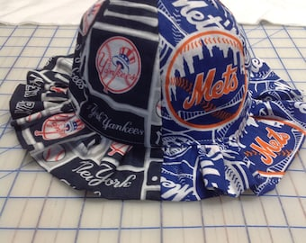 2cee9201252 New York Yankees and New York Mets Inspired House Divided Baby Sun Hat