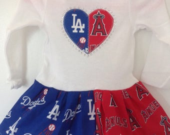 LA Dodgers and the Anaheim Angels  Inspired House Divided  Dress