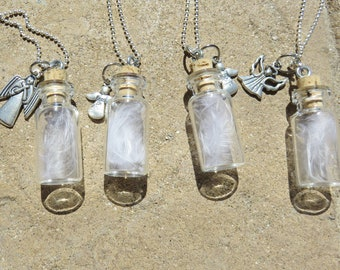 4 Angel Feather in Tiny Glass Bottle Necklace, Party Favor