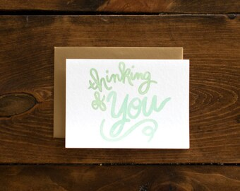 mint & gold thinking of you card