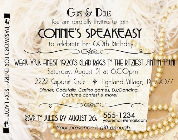 Gatsby Roaring 20 S Speakeasy Invitation Twenties Wedding Etsy