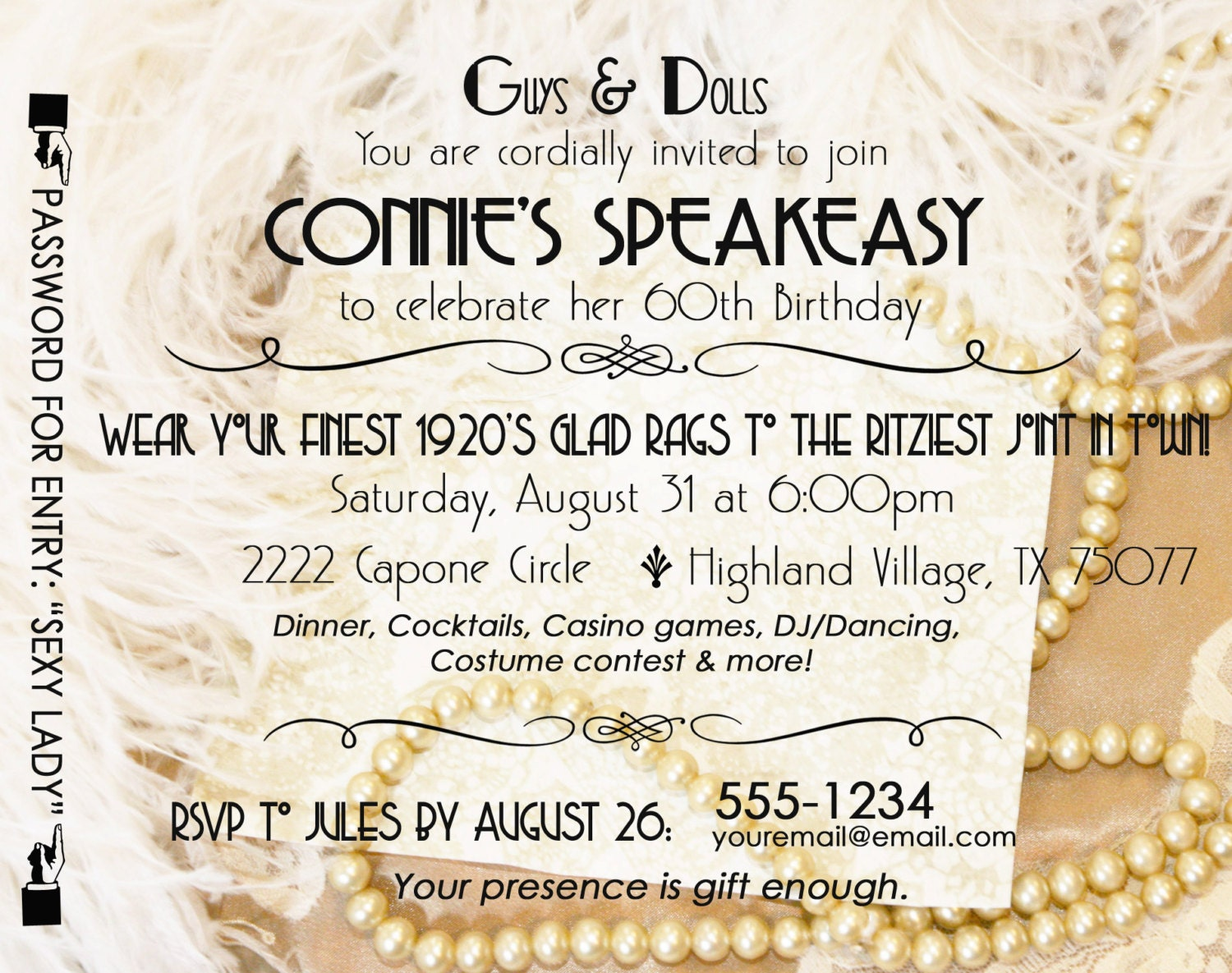 Gatsby Roaring 20\'s Speakeasy Invitation Twenties Wedding | Etsy