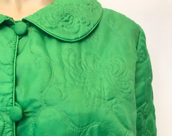 Apple green vintage 1960s jacket with decorative oriental chrysanthemum flower design quilting