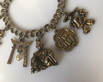 Vintage Jewelcraft oriental charm pendant c. 1950s to 60s - signed goldtone