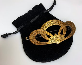Large antique late Victorian hair clip or barrette with Damascene decoration - late 1800s to 1900s
