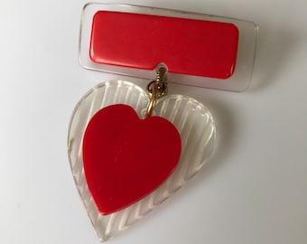 Vintage 1940s reverse carved lucite medal style sweetheart heart brooch