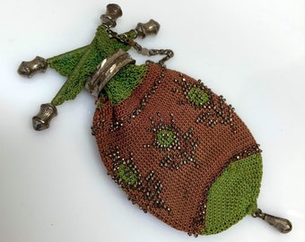 antique c. 1840s Victorian en diable silk crochet netted coin purse with cut steel fringe and finger chain