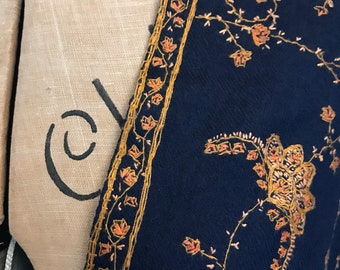 Vintage kashmiri pashmina / shawl with kani hand embroidery  - navy blue