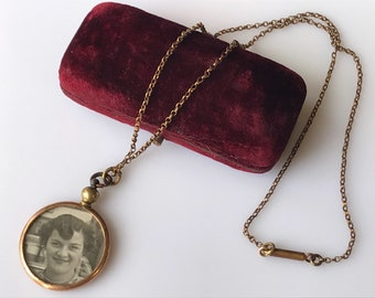 Edwardian double fronted glass faced locket in rolled gold - lady and terrier - original chain