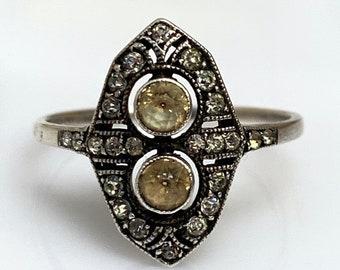 Vintage delicate 1920s to 30s paste set ring - Art Deco - UK M