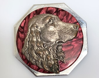C. 1930s vintage dog brooch - galalith and chrome - Art Deco