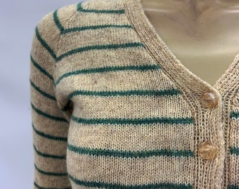 vintage v neck subtle striped cardigan or sweater in pure wool - c.1950s hand knit