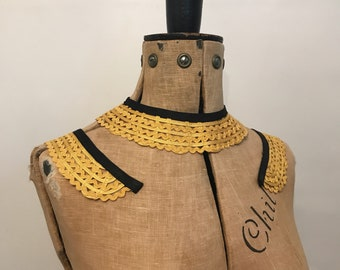 Late 1920s to 1930s vintage matching gold and black collar and cuffs set