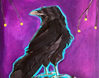 Original Mixed Media Crow Feathers