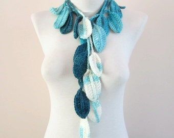 Leaf Scarf, Crochet Lariat Scarves, Crocheted Necklace, Bracelet, Belt, Spring, Long Jewelery, Blue Turquoise White Teal, Christmas Gift