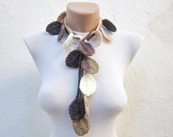 Autumn Leaves Lariat Scarf, Women Crochet Scarves, Brown Cream Crocheted Leaf Jewelry, Fall Necklace, Winter Accessories, Christmas Gift