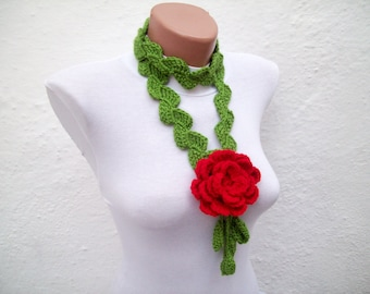 Christmas Gift, Crochet Accessory, Crochet Necklace, Lariat Scarf, Red Rose Flower, Floral Jewelry, Women Necklace Scarves, Red, Green