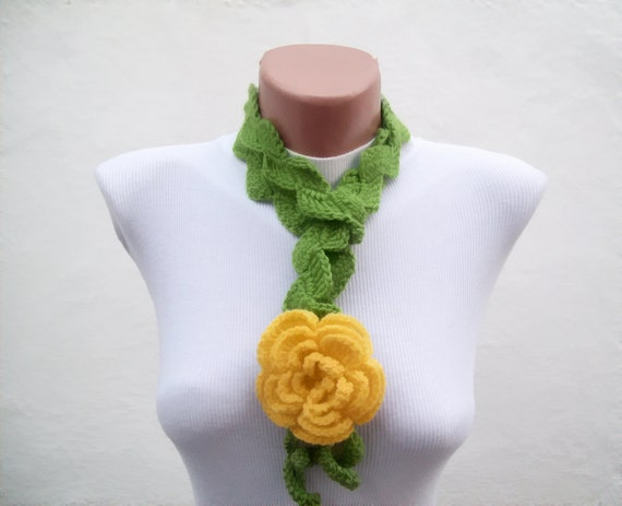 Scarf Necklaces For Women Rose Lariat Scarf Crochet Flower Etsy