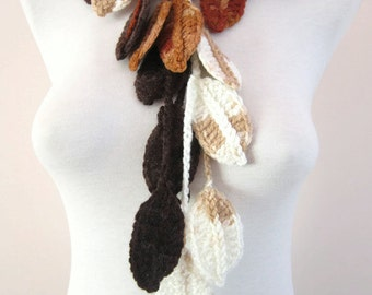 Woman Accessories, Crochet Leaf Lariat Scarf, Brown Cream,Long Necklace, Crocheted Scarflette, Variegated, Christmas Gift
