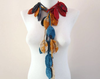 Colorful Crochet Scarf, Crocheted Leaf Scarves, Long Lariat Jewelry, Leaves Necklace, Autumn Accessories, Fall Woman Fashion, Christmas Gift