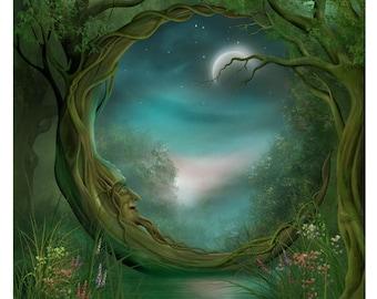 Art Print - Day and Night - Moon Tree A3 (11.7x16.5) print by John Emanuel Shannon