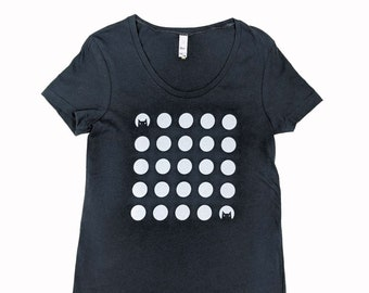 Cat Dots on Scoop Neck Coal Black T-Shirt -- Free Domestic Shipping