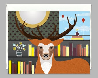A Bookish Stag Greeting Card