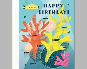 Fish Yellow Submarine Party Happy Birthday Greeting Card