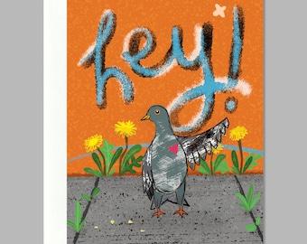 City Bird Says Hi Greeting Card