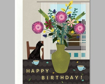 Happy Birthday Cat Bouquet Greeting Card