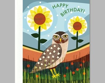 Happy Birthday Owl Sunflowers Garden Greeting Card